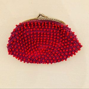 Vintage 60s/70s Pink & Orange Beaded Coin Purse